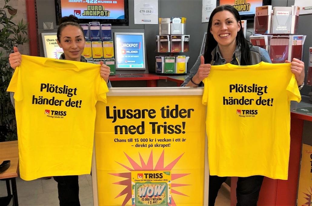 Glädjen är stor på City Gross i Falun efter att en Triss med tv-vinst sålts där.