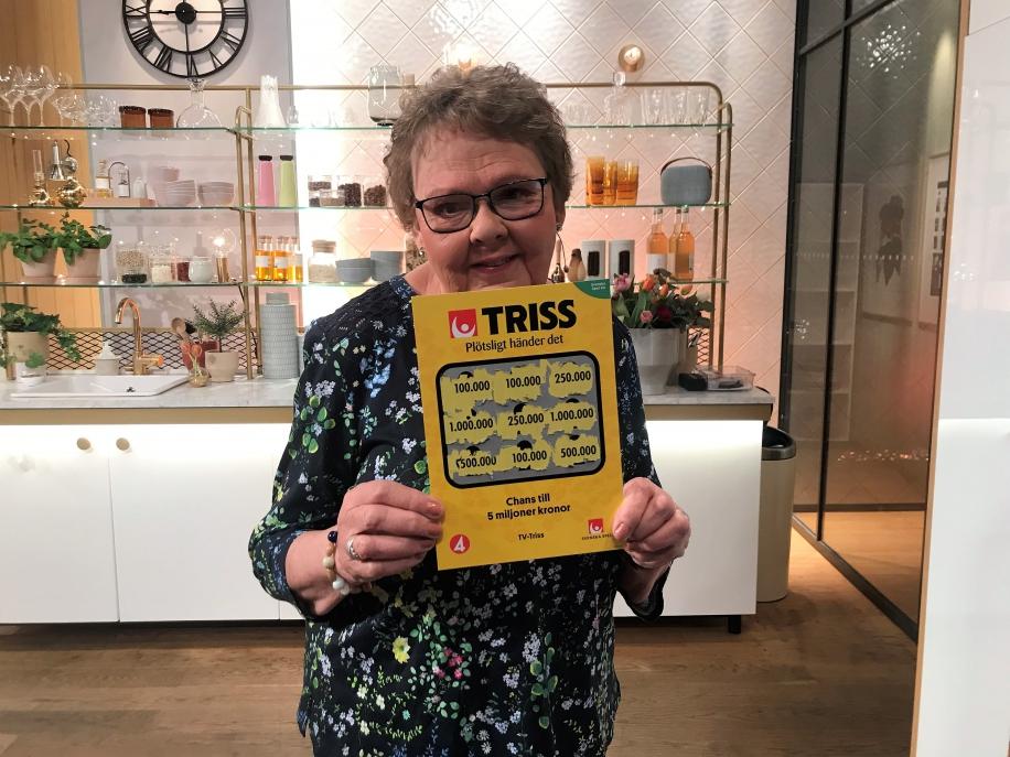 Gunilla vann 100 000 kronor när hon skrapade Triss i TV4.