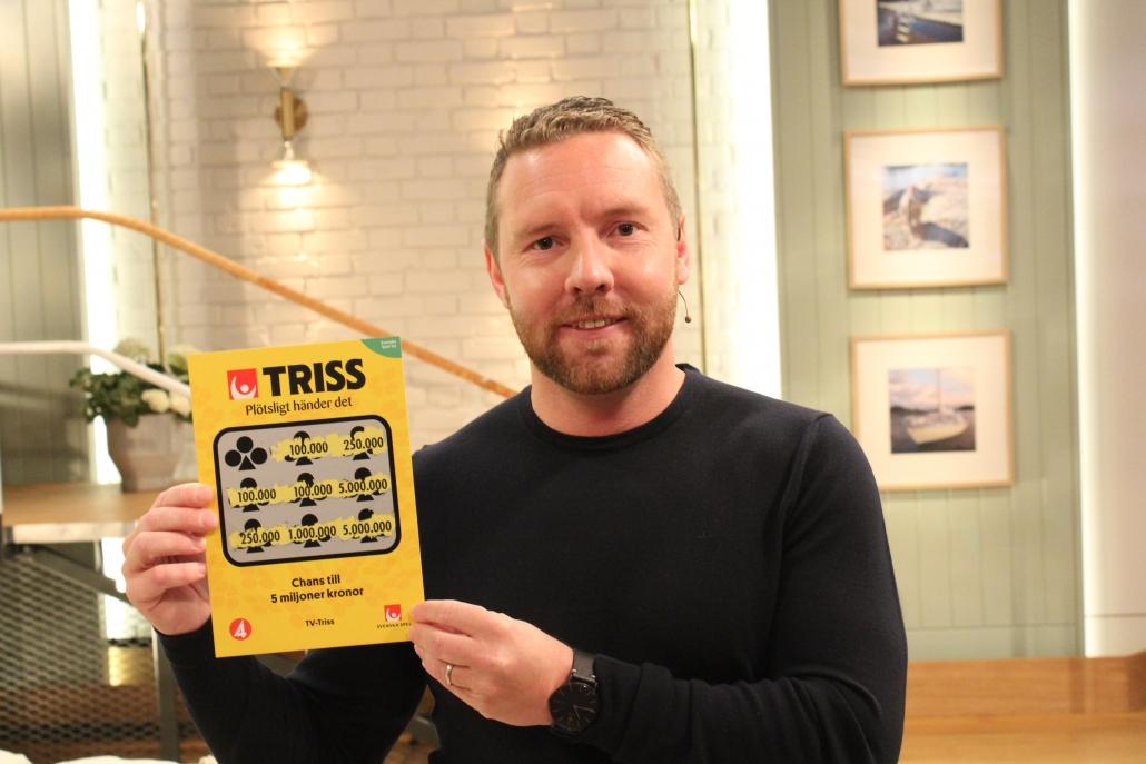 Nicklas Vesterlind vann 100 000 kronor på Triss i tv.