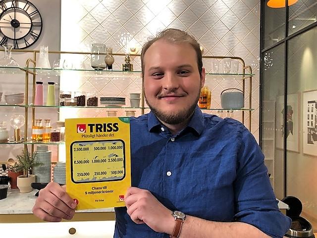 Måns Waclaw vann 2,5 miljoner kronor på Triss.