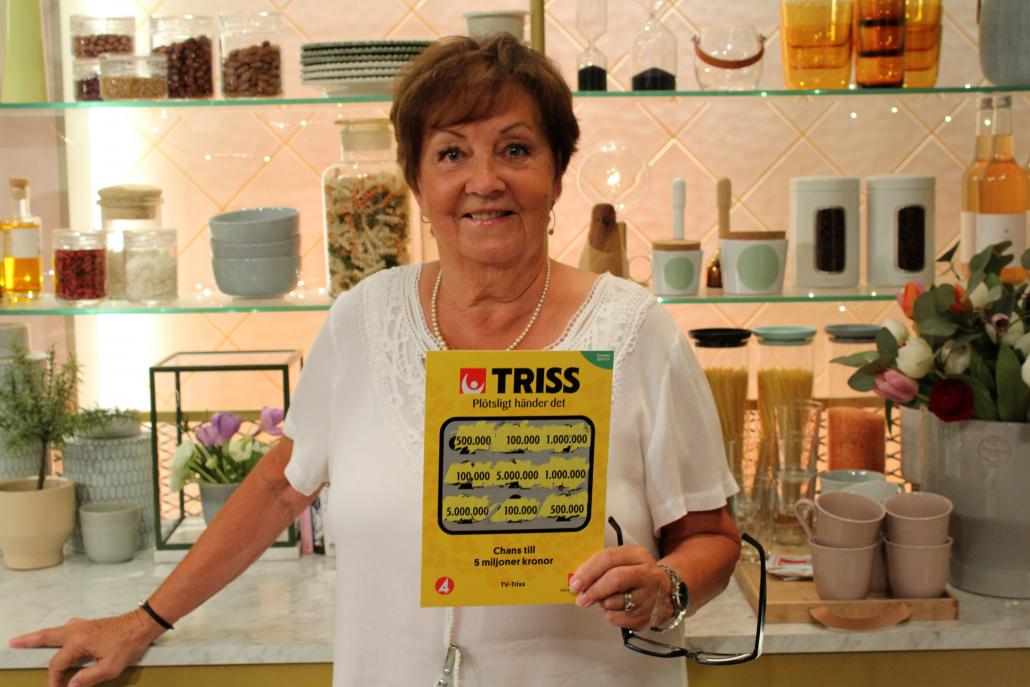 Britt-Marie Skoog från Helsingborg vann 100 000 kronor på Triss i TV4.