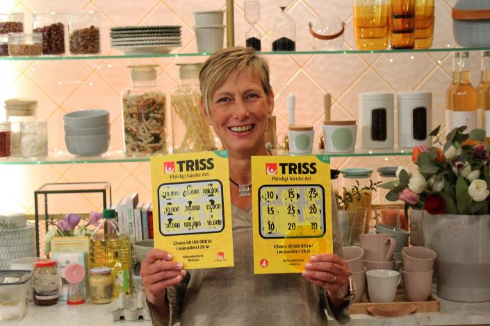 Carina vann 1,2 miljoner kronor på Triss.