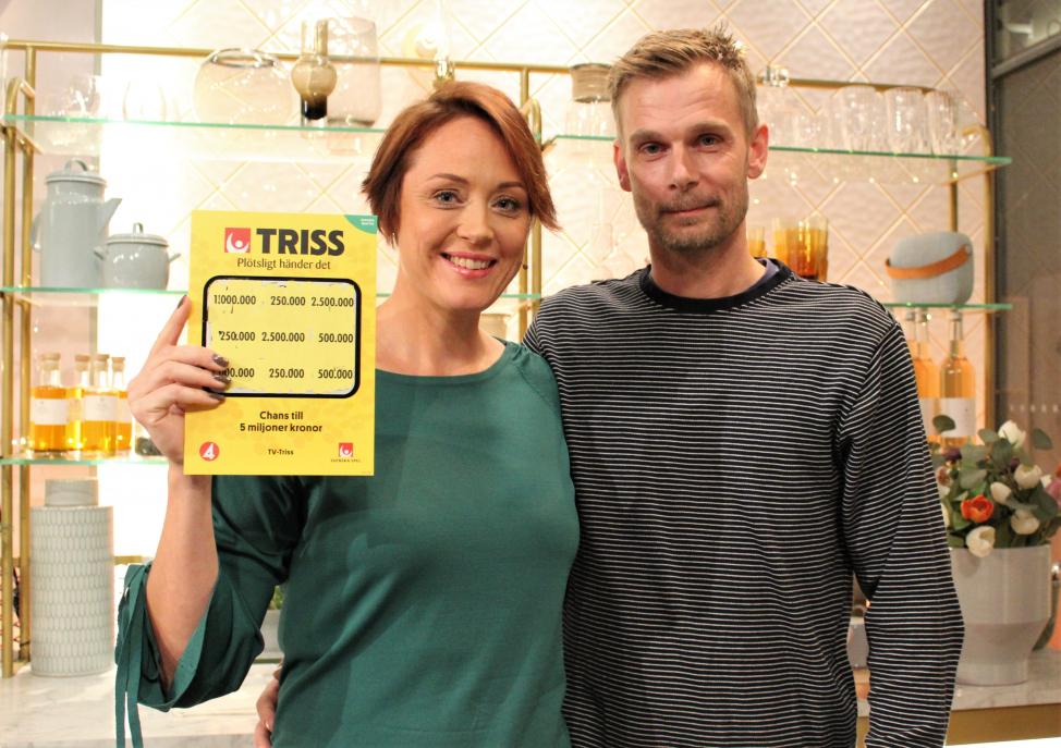 Sofia Mårtensson och Fredrik Sandström vann 250 000 kronor på TV-Triss.
