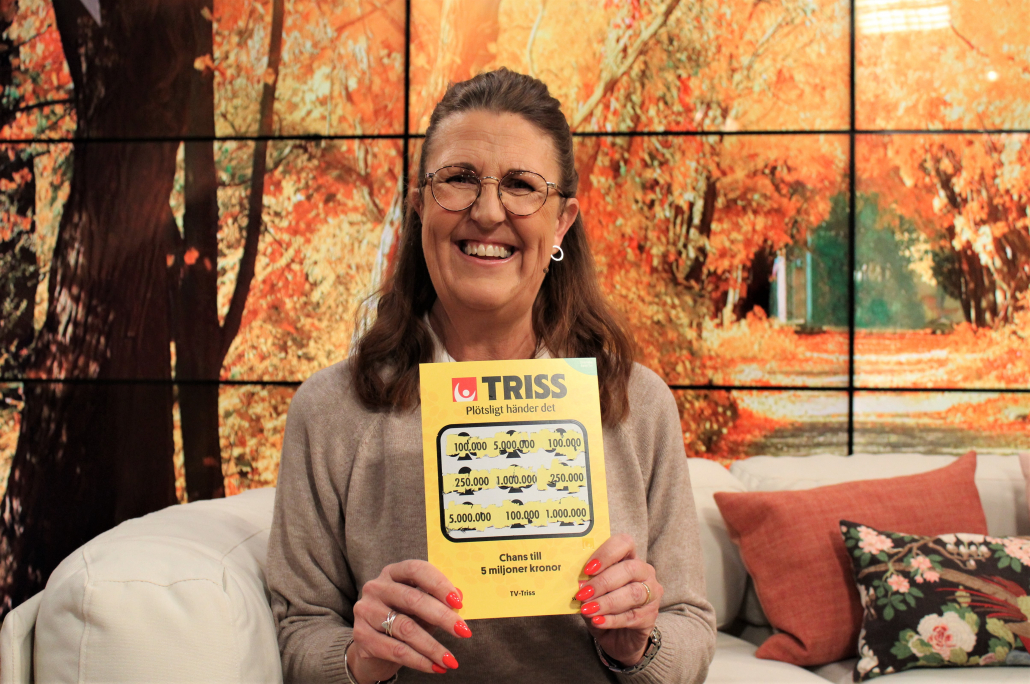 """Carlotta """"Lotta"""" Nilsson vann 100 000 kronor på Triss i tv. Pengarna kommer gå till en ny bostad i Stockholm."""