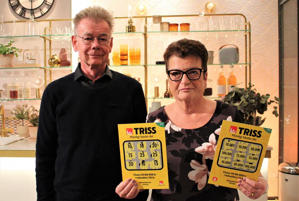 Pensionerade paret Inger och Bo Hultman vann 1,2 miljoner kronor på Klöverskrapet på Triss.