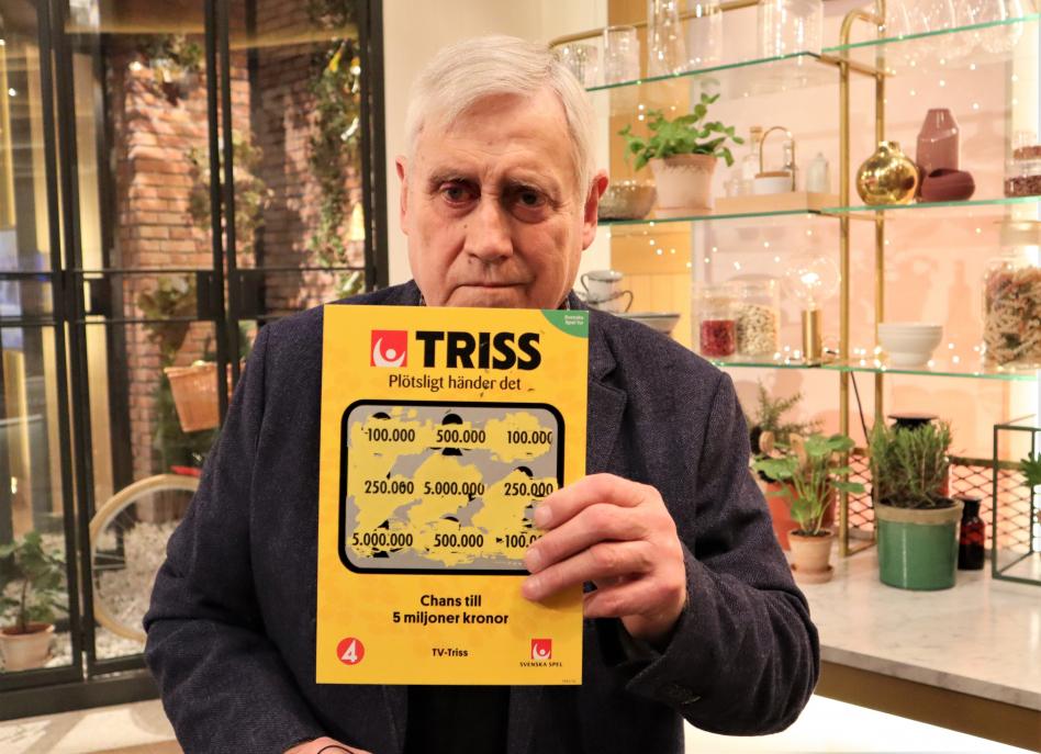 Bernt Andersson från Sjöbo vann 100 000 kronor på Triss i tv.