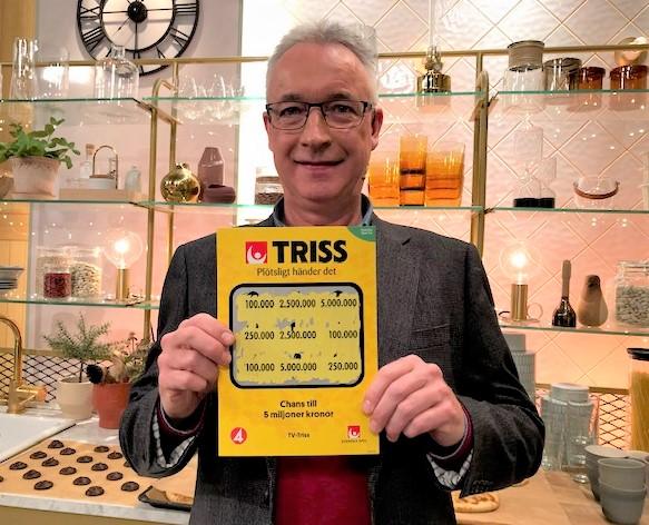 Donald Svensson från Växjö vann 100 000 kronor på Triss i tv.