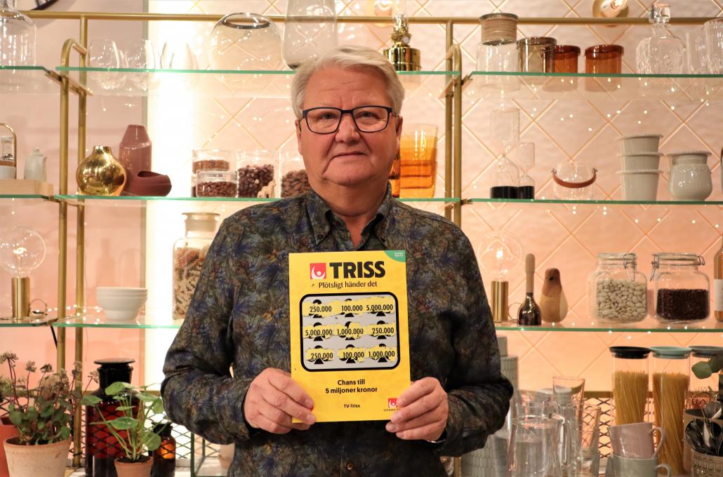Esko Laxström från Glommen vann 250 000 kronor på Triss i tv.