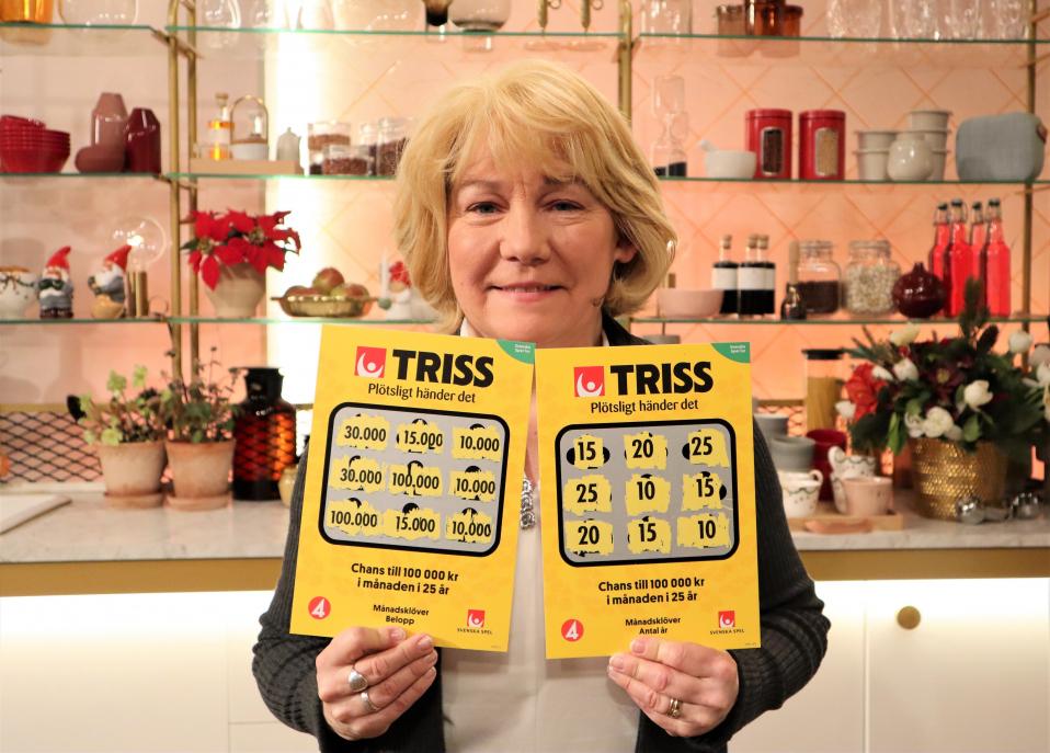 Huddingebon Annika Eklind vann 1,8 miljoner kronor på Triss i tv sista lördagen detta årtionde.