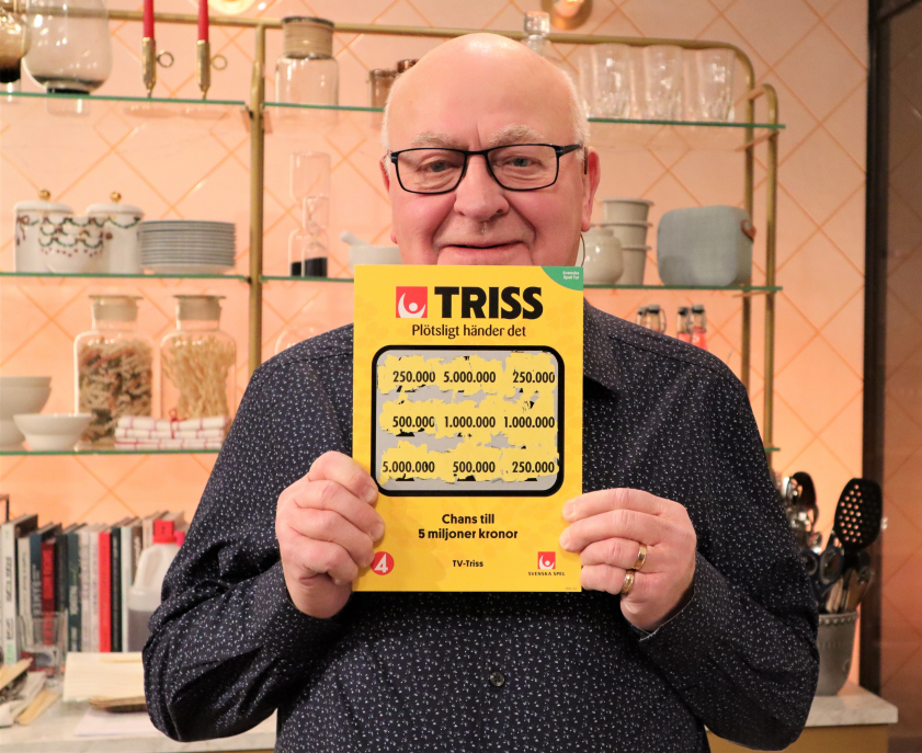 Göran Elgcrona från Kalix vann en kvarts miljon kronor på Triss i tv.