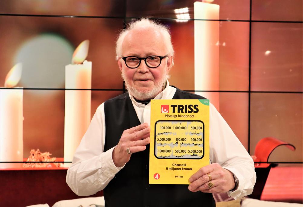 Lungbyhedsbon Mats Andersson vann 100 000 kronor på Triss i tv efter att ha valt lott nummer 3.