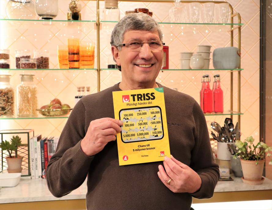Sejad Lovic från Degefors vann 100 000 kronor på Triss i tv.
