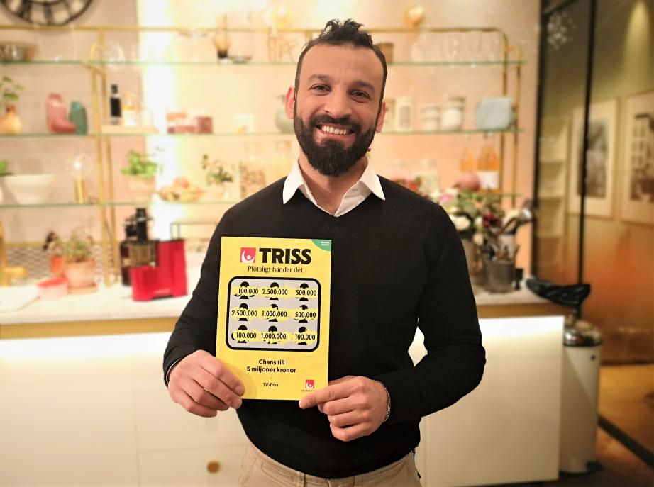 30-åriga Ali Alshlash från Gotland vann 100 000 kronor på Triss i tv.