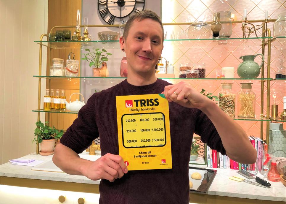 32-åriga grävmaskinisten Jonas Lundin från Eskilstuna vann en kvarts miljon kronor på Triss i tv.