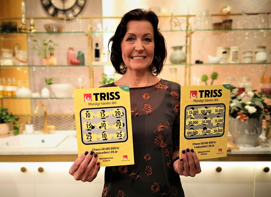 Fastighetsmäklaren Marita Bergman från Varberg skrapade under lördagsmorgonen fram 15 000 kronor i månaden i 10 år i TV4 Nyhetsmorgon.