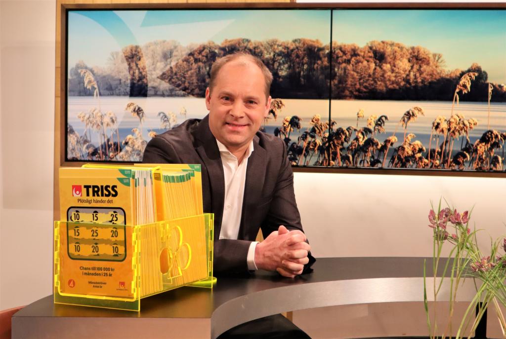 Strängnäsbon Peter Gustafsson skrapade fram 1,8 miljoner kronor på Triss i tv åt sin nära vän som skänker pengarna till välgörenhet.