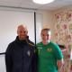 Johan Claesson, integrity officer på Svenska Fotbollförbundet, och Sabina Lundström, lagkapten i Bollstanäs SK. Foto: Jonas Malmgren