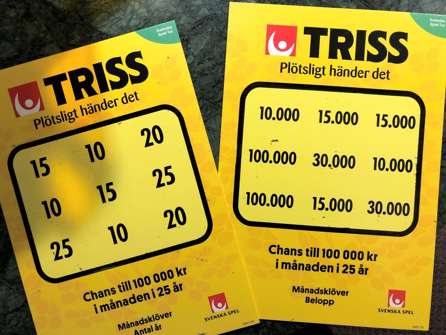 Fjugestabon Elena Rudin vann 15 000 kronor i månaden i 10 år på Triss i tv efter att ha fått Trisslotter i alla hjärtans dag-present av sin man.