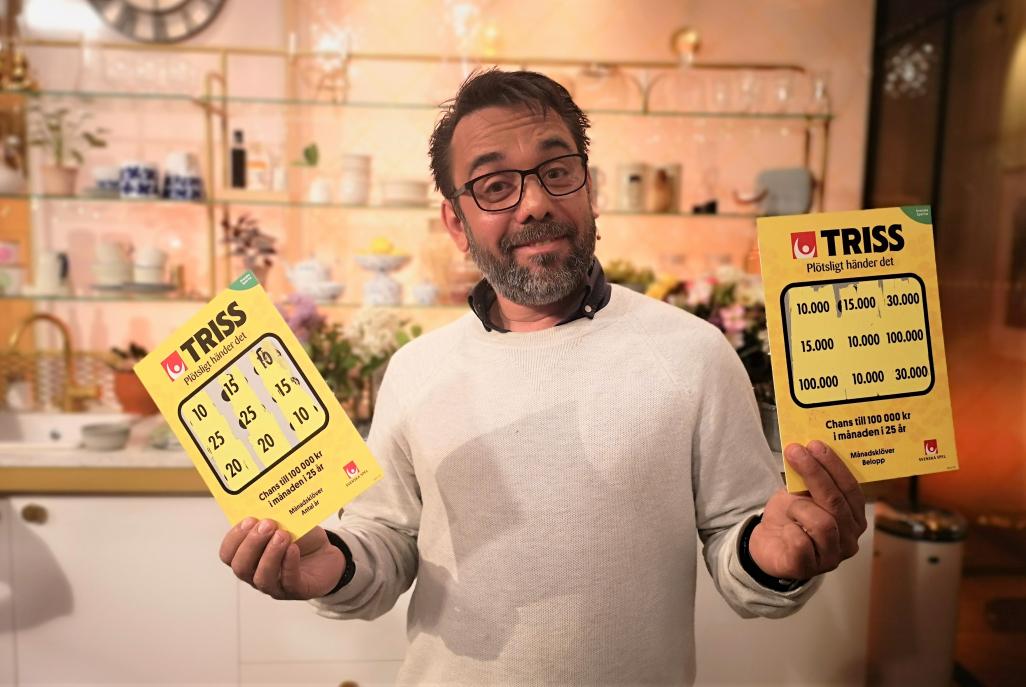 Elbåtstillverkaren och Täbybon Miquel Messia De Prado firade in nationaldagen med att skrapa fram 1,2 miljoner kronor på Triss i tv som kommer gå till hans barn.