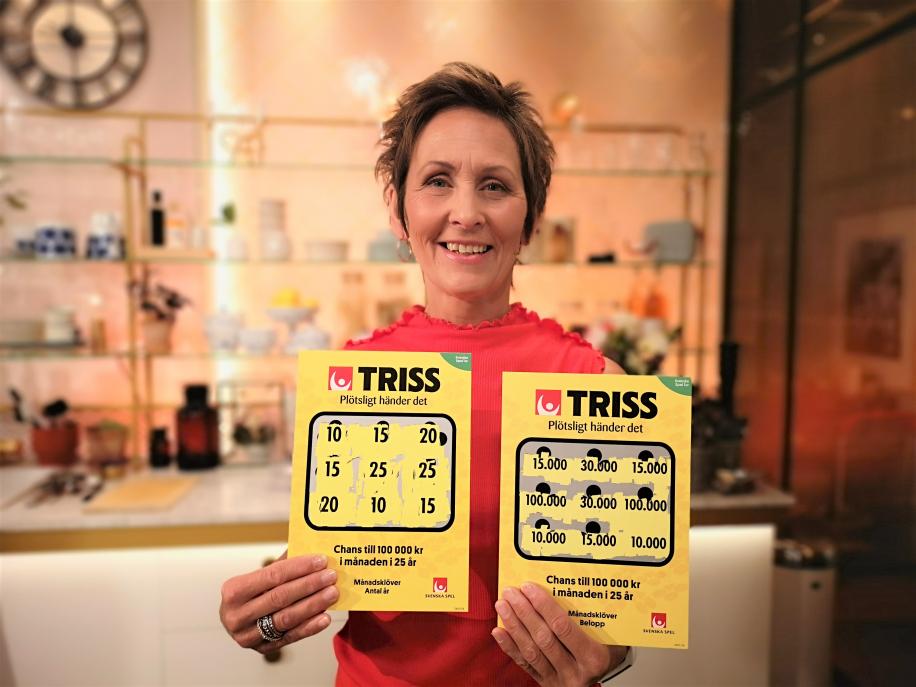 Förskolepedagogen Bitte Nordin från Järvsö skrapade under lördagsmorgonen fram 2,7 miljoner kronor på Triss i tv. Vinsten kommer gå till vardagslyx och att uppfylla drömmen om en kryssning i västra Karibien.
