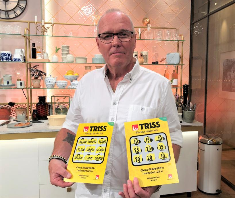 Mats Andersson från Västerås skrapade under lördagsmorgonen fram 3,6 miljoner kronor på Triss i tv till sin bästa vän och tidigare snickarkollega Sten.