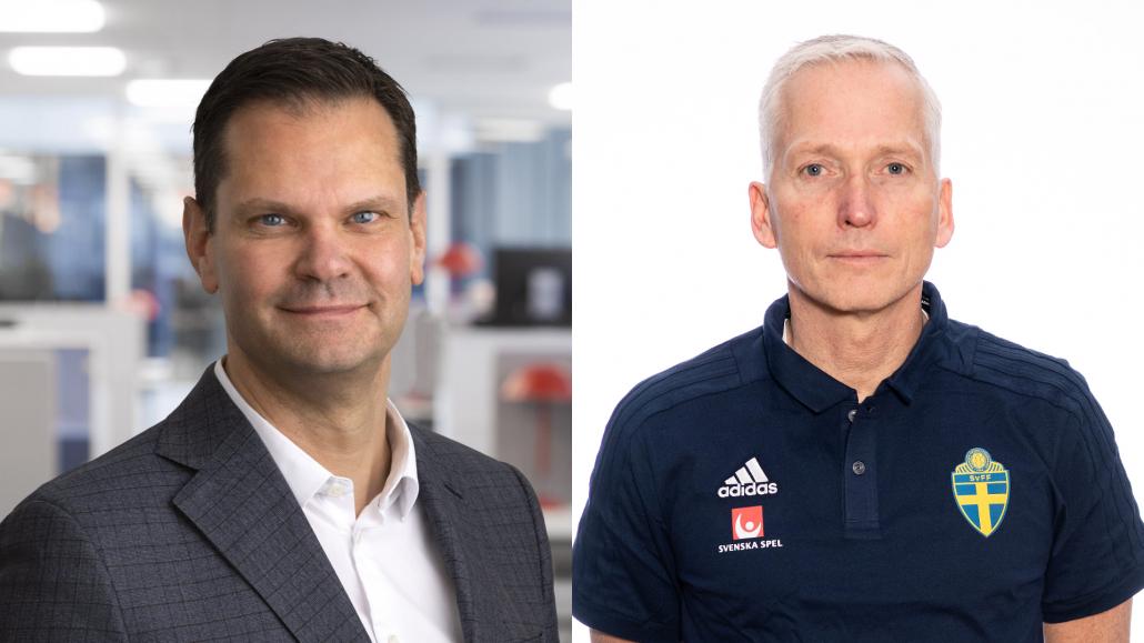 Patrik Hofbauer, vd och koncernchef Svenska Spel, och Håkan Sjöstrand, generalsekreterare Svenska Fotbollförbundet.