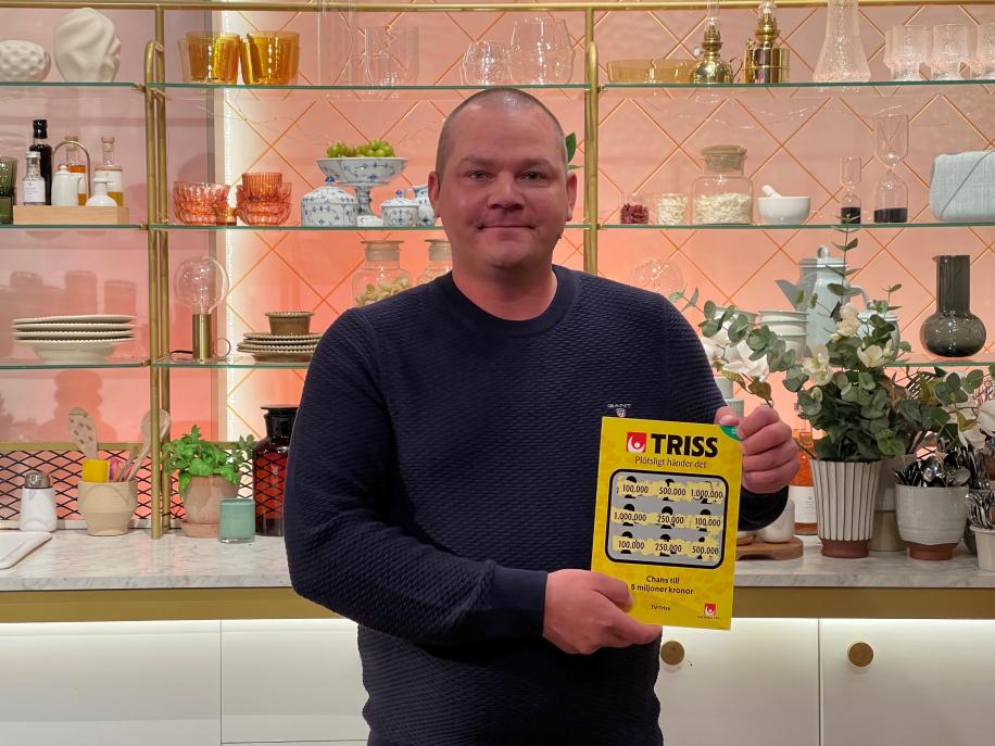 Petri från Ursviken skrapade fram 100 000 kronor i TV4 Nyhetsmorgon och delar pengarna med en vän.